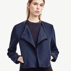 Ann Taylor Navy Fringe Tweed Navy Blazer